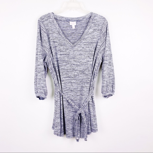 Isabel Maternity by Ingrid & Isabel Tops - Isabel Maternity blue striped long sleeve Tunic